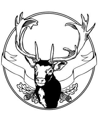 fallow deer: fallow deer sign illustration Illustration