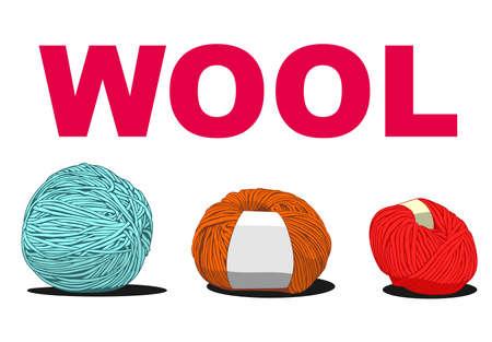 wools: ball of wool sign illustration Illustration