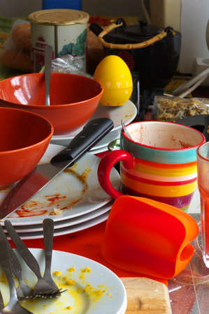 messy: Dirty dishes kitchen utensils