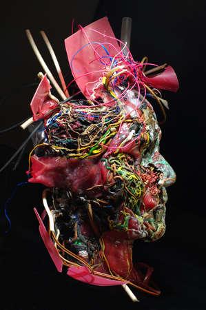 surreal: plastic mask art sculpture