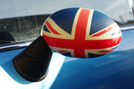 rearview: rearview mirror UK flag Stock Photo