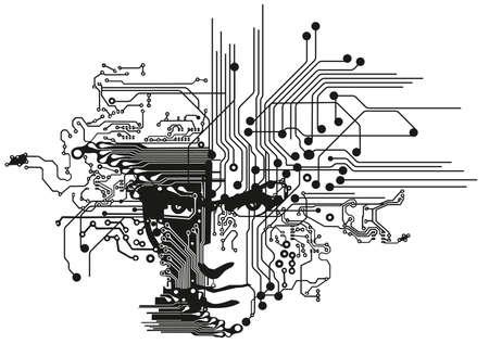 circuitos electronicos: cara las placas de circuitos Vectores