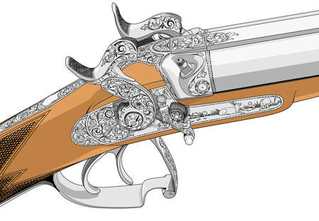 cocking: old fashioned classic style rifle illustration