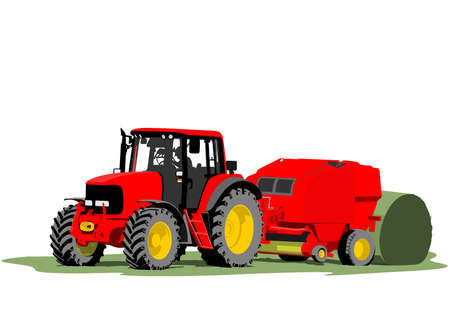tractor in field: Tractor hay bale