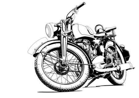 old motorcycle: old motorcycle illustration Illustration