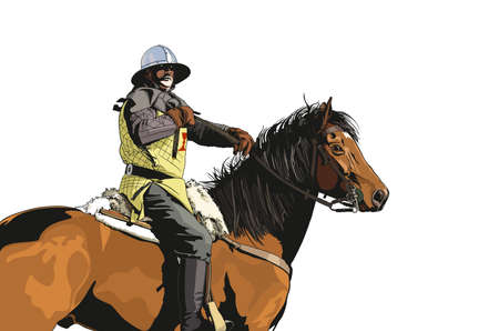 uomo a cavallo: cavaliere illustrazione medioevale Vettoriali
