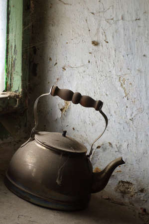 boiling: old kettle for boiling water