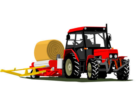 hay bales: Straw bale tractor Illustration