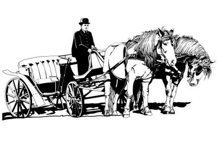 carriage with horses illustration Ilustrace