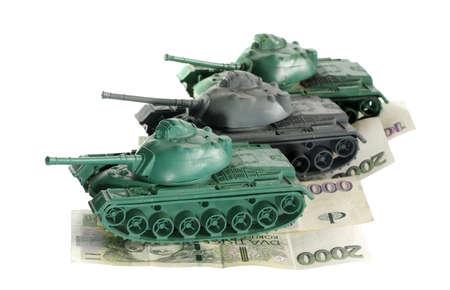 tanks armed finance objects isolated toy Reklamní fotografie