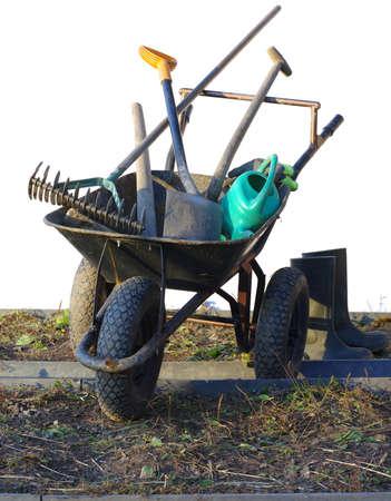 wheel with garden tools Reklamní fotografie