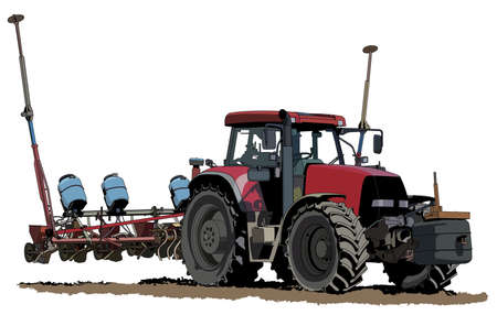 sowing tractor illustration