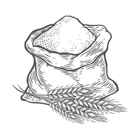 Sack with whole flour or sugar with ear wheat. Hand drawn sketch style. Vintage black vector engraving illustration for label, web, flayer bakery shop. Isolated on white background.