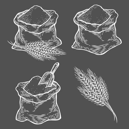 Sack with whole flour or sugar with ear wheat, scoop. Hand drawn sketch style. Vintage black vector engraving illustration set for label, web, flayer bakery shop. Isolated on black background.