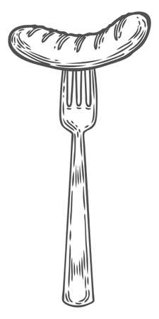 Vintage hand drawn fork with grilled sausage. Vector sketch illustration cutlery tool. Poster restaurant in retro vintage style in black and white graphics. Silverware
