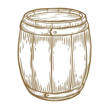 Drewniane piwo rzemieślnicze, whisky, beczka z alkoholem do wina. Brązowy vintage grawerowane ręcznie rysowane ilustracji wektorowych. Szkic kontenera Craft. Drewniany cylindryczny pojemnik na płyn