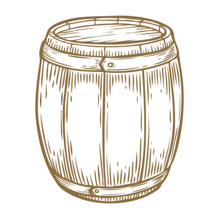 Wooden craft beer, whiskey, wine alcohol barrel. Brown vintage engraved hand drawn vector illustration. Craft container sketch. Wooden cylindrical container for liquid