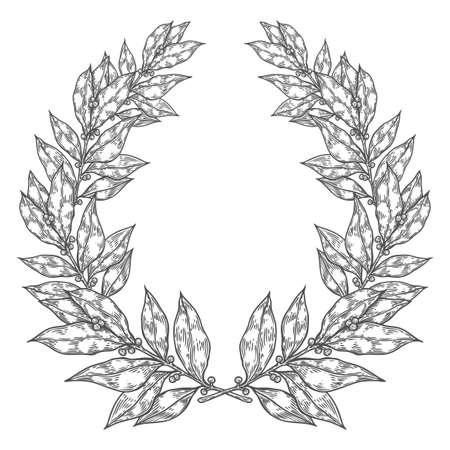 laurel leaf: Laurel Bay white black leaf Hand drawn vector illustration. Vintage decorative laurel wreath. Sketch design elements. Perfect for invitations, greeting cards, quotes, blogs, posters and more. Illustration
