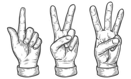 Hand gesture. Set of gestures of hands counting from one to three. Pointing up finger. Retro vintage sketch vector illustration. Engraving style. Black isolated on white background