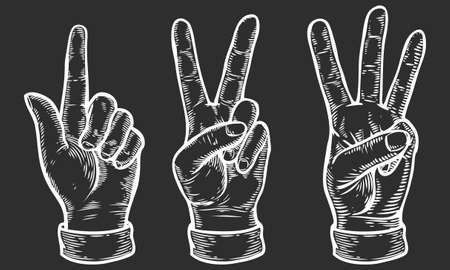 gesture set: Hand gesture. Set of gestures of hands counting from one to three. Pointing up finger. Retro vintage sketch vector illustration. Engraving style. White isolated on black background
