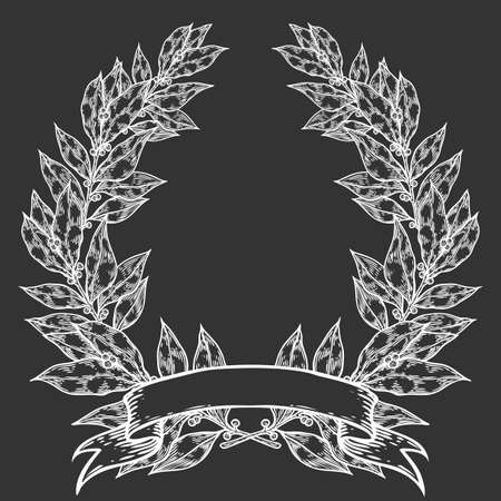 laurel leaf: Laurel with ribbon Bay leaf Hand drawn vector illustration. Vintage decorative laurel wreath. Sketch design elements. Perfect for invitations, greeting cards, quotes, blogs, posters and more.
