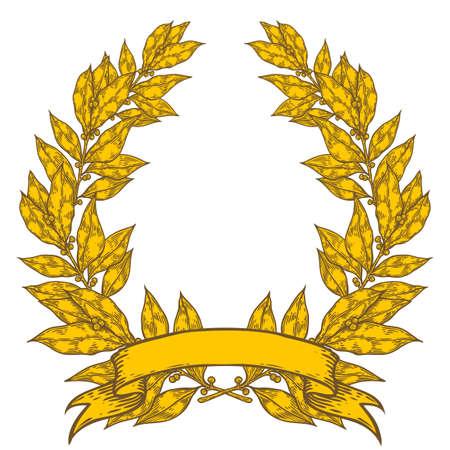 laurel leaf: Golden Laurel with ribbon Bay leaf Hand drawn vector illustration. Vintage decorative laurel wreath. Sketch design elements. Perfect for invitations, greeting cards, quotes, blogs, posters and more. Illustration