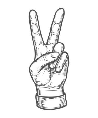 Hand gesture. Pointing two finger up counting. Retro vintage sketch vector illustration. Engraving style. black isolated on white background