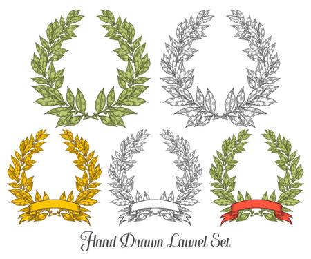 laurel leaf: Laurel set with red ribbon Bay leaf Hand drawn vector illustration. Vintage decorative laurel wreath. Sketch design elements. Perfect for invitations, greeting cards, quotes, blogs, posters and more. Illustration
