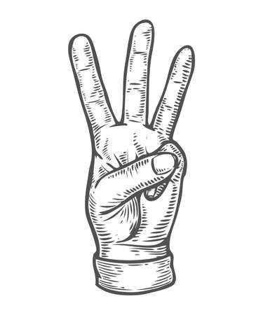 Hand gesture. Pointing three finger up counting. Retro vintage sketch vector illustration. Engraving style. black isolated on white background