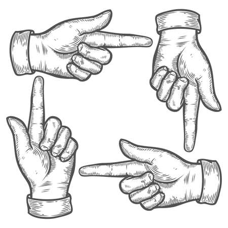 gesture set: Hand gesture. Set of gestures. Pointing up down left right finger. Retro vintage sketch vector illustration. Engraving style. Black isolated on white background