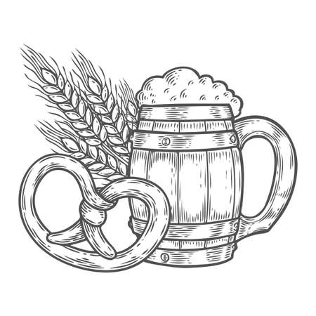 pretzel: Wooden craft beer oktoberfest mug, pretzel, wheat. Black vintage engraved hand drawn vector illustration. Sketch Wooden cylindrical container for liquid. Black isolated on white background. Illustration