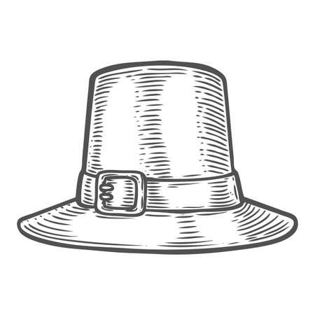 Sombrero del festival del otoño de la acción de gracias. Signo de grabado vintage monocromo aislado sobre fondo blanco. Ilustración vectorial dibujado a mano.