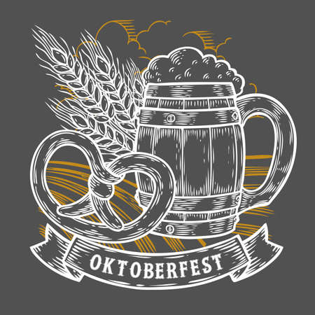 Wooden craft beer mug, pretzel, wheat. Happy oktoberfest. Black vintage engraved hand drawn vector illustration. Sketch Wooden cylindrical container for liquid. White isolated on black background.