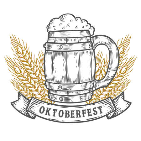 oktoberfest background: Wooden craft beer mug, wheat. Happy oktoberfest. Black vintage engraved hand drawn vector illustration. Sketch Wooden cylindrical container for liquid. Black isolated on white background.