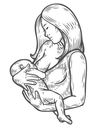 Woman breastfeeding baby, mother holding newborn baby in arms feeding him with breast milk. Breastfeeding coalition, breast feeding mothers support lactation consultant. Vector hand drawn illustration
