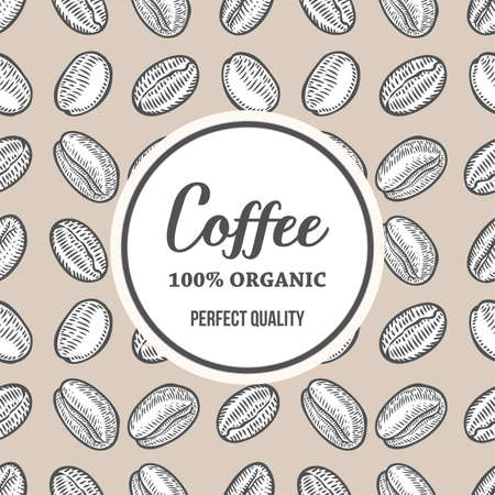 stimulant: Coffee beans Hand hand drawn botany vector banner illustration. Organic Coffee Decorative doodle of caffeine food. Engraving sketch etch line. Black on beige background.