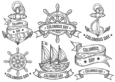 timon barco: ilustraciones dibujadas Feliz día de colón vector grabada mano conjunto. garabatos de época retro náuticas, timón, barco, nave, ancla, cintas. logotipo de dibujo, emblema, bandera, etiquetas. Aislado en blanco
