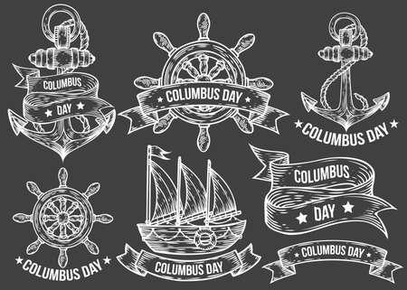 timon de barco: ilustraciones dibujadas Feliz día de colón vector grabada mano conjunto. garabatos de época retro náuticas, timón, barco, nave, ancla, cintas. logotipo de dibujo, emblema, bandera, etiquetas. Aislado en negro Vectores