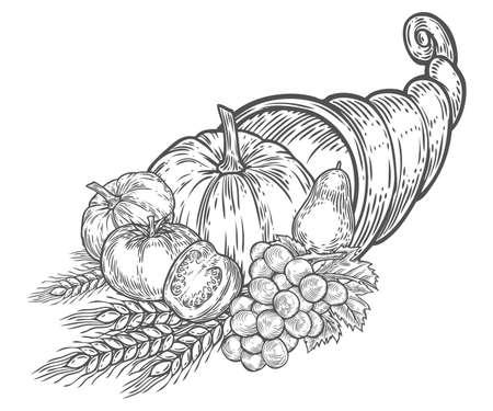 Thanksgiving herfst hoorn des overvloed festival embleem. Monochrome vintage gravure verse biologische groenten, tarwe en fruit ondertekenen geïsoleerd op witte achtergrond. Schets vector hand getrokken illustratie