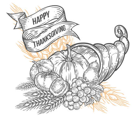 horn of plenty: Thanksgiving autumn cornucopia festival badge. Monochrome vintage engraving fresh organic vegetables, wheat and fruits sign isolated on white background. Sketch vector hand drawn illustration.