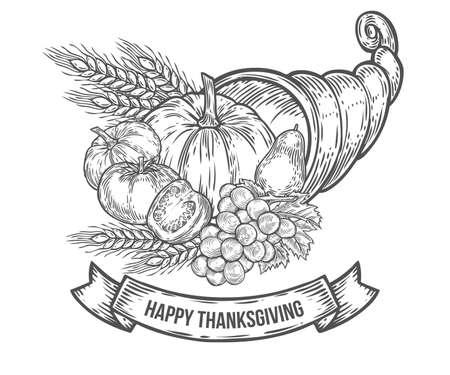 Thanksgiving Autumn Cornucopia Festival Badge Monochrome Vintage Engraving Fresh Organic Vegetables Wheat And Fruits