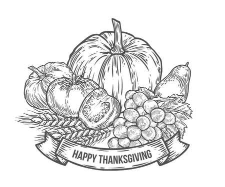 pumpkin tomato: Thanksgiving autumn festival badge. Monochrome vintage engraving fresh organic vegetables, wheat and fruits sign isolated on white background. Sketch vector hand drawn illustration. Pumpkin, tomato, grape,avocado