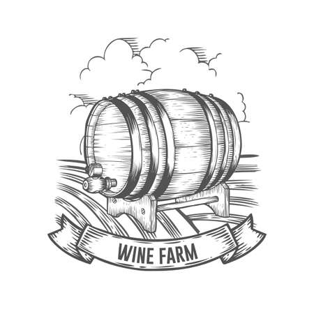 Wine farm badge. Monochrome vintage engraving barrel sign isolated on white background. Sketch vector hand drawn illustration.