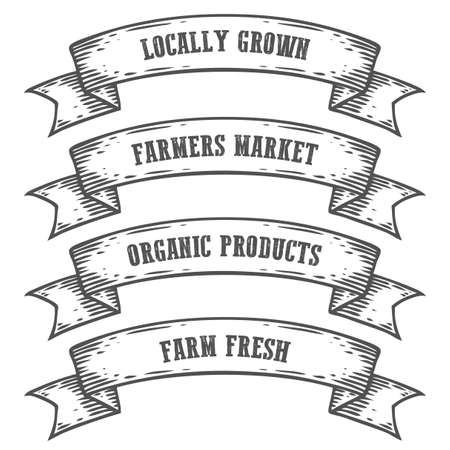 Farmers market emblem ribbon. Monochrome medieval set vintage engraving sign isolated on white background. Sketch vector hand drawn illustration. Locally grown, fresh food retro style. Фото со стока - 68335566