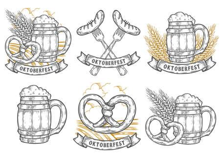 Wooden craft beer mug, wheat, sausage, pretzel. Oktoberfest labels set. Black vintage engraved hand drawn vector sketch illustration. Black isolated on white background. Emblems for web, banner Иллюстрация