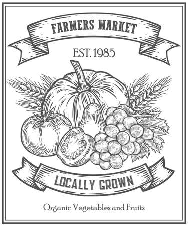 Organic product food store, farmers market poster on white board menu, farm food poster, healthy food template, hand drawn vector illustration. Set of farm badge, label and design element Иллюстрация