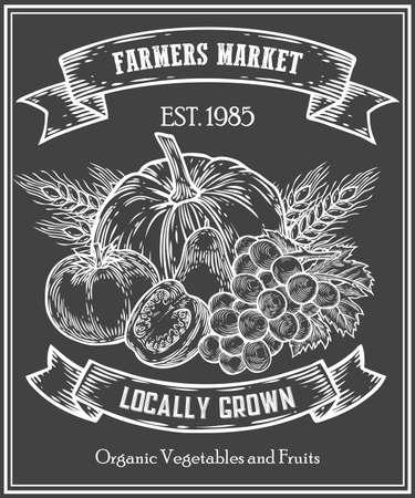 Organic product food store, farmers market poster on chalkboard menu, farm food poster on blackboard, healthy food template, hand drawn vector illustration. Set of farm badge, label and design element Иллюстрация