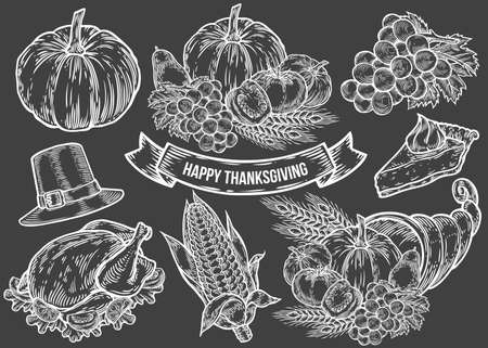 Thanksgiving autumn festival doodle set. Monochrome vintage engraving fresh organic vegetables, wheat and fruits, hat, pie, corn, turkey sign isolated on black. Sketch vector hand drawn illustration Иллюстрация