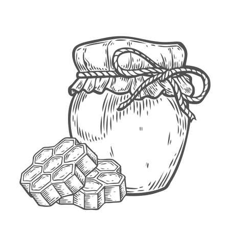 Honey jar, honeycomb vintage set. Engraved organic food hand drawn sketch illustration. Black isolated on white background.