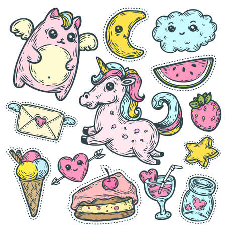 Fashion patch badges with unicorn, heart, cat, star, dessert and other elements for girls. Vector hand drawn illustration isolated on white. Set of stickers, pins, patches in cartoon comic style. Иллюстрация